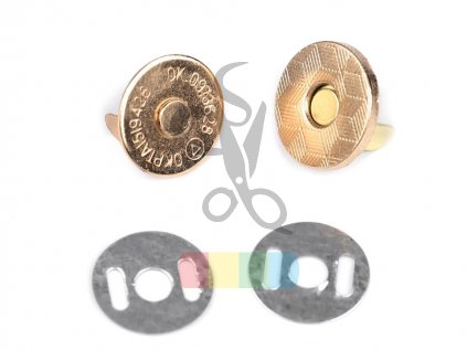 magnetické zapínání tenké - průměr 14mm zlaté
