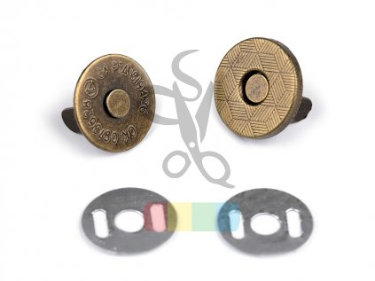 magnetické zapínání tenké - průměr 14mm mosaz