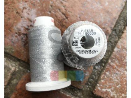 vyšívací nit  - POLY STAR - 1000 m - bílá (stříbrná)
