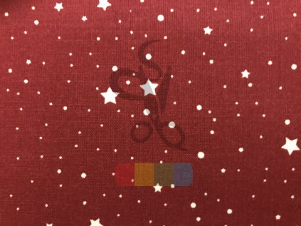 bavlněná látka - hvězdičky - bordó