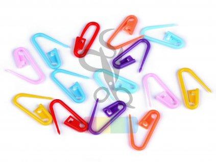 Spínací špendlík na háčkování, pletení - 10 ks - mix barev