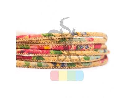 korková šňůra  průměr 3 mm - hnědá + sytě barevná