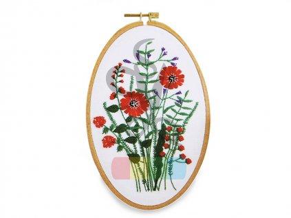 sada na vyšívání - červené květy