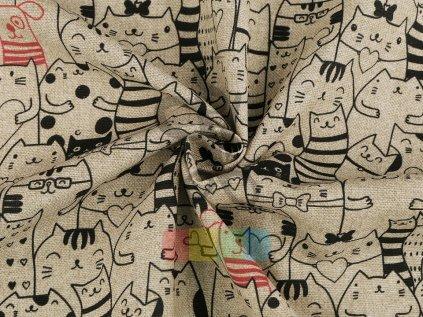 bavlna s polyesterem - kočky a pes