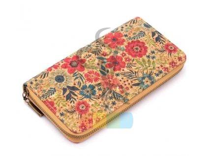 dámská peněženka korková - vlčí máky