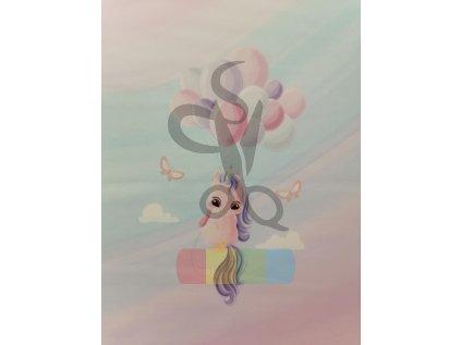 teplákovina - panel - 40 x 50  cm - jednorožec s balóny