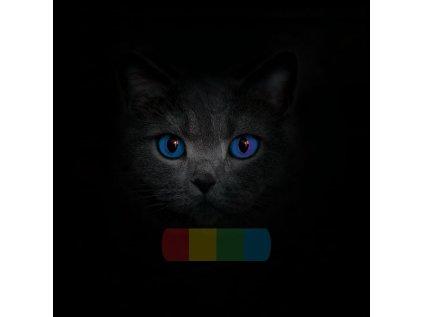 kočárkovina - panel - 30x30 - kočičí oči ve tmě - modré