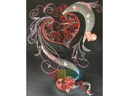 panel - černý korek s výšivkou - srdce (90 x 40 cm)