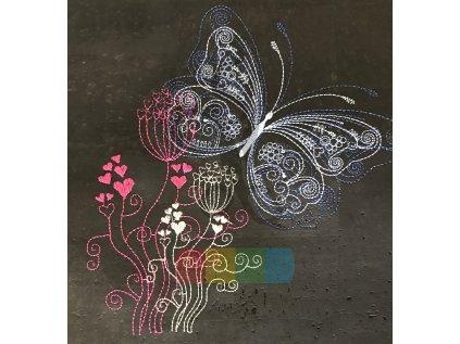 panel - černý korek s výšivkou - kytka s motýlem (90 x 40 cm)