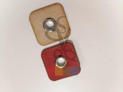 průchodka kožená 8 mm, čtverec - více barev