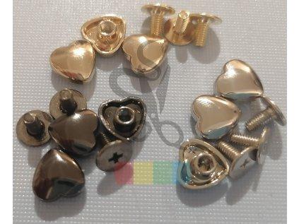 opaskový šroubek hladké srdce - stříbrné