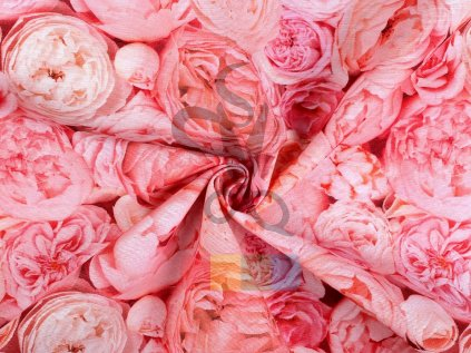 bavlna s polyesterem - růže
