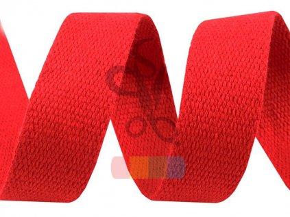 bavlněný popruh, šíře 3 cm, barva červená