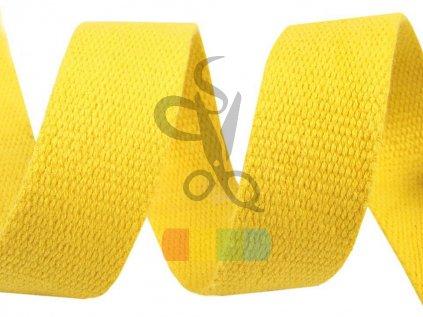 bavlněný popruh, šíře 3 cm, barva žlutá