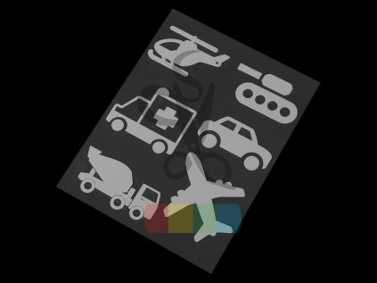 svítící nažehlovačka - dopravní prostředky