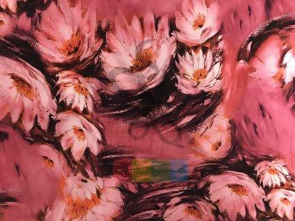hedvábná šatovka - růžové lekníny
