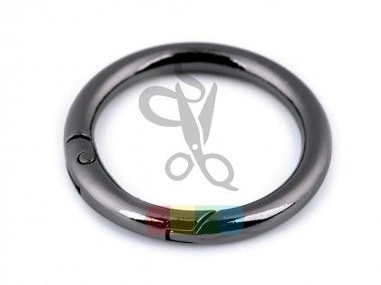 kroužek na klíče či kabelky 32 mm - černý nikl