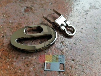 zapínání na kabelku ovál 40x25 mm - stříbrné