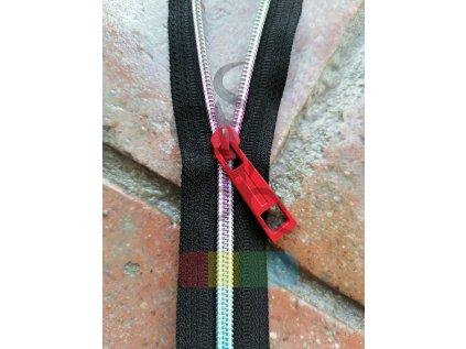 jezdec k metrážovému spirálovému zipu 5 mm - obelisk - červený