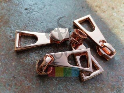 jezdec k metrážovému spirálovému zipu 5 mm - obelisk - růžové zlato