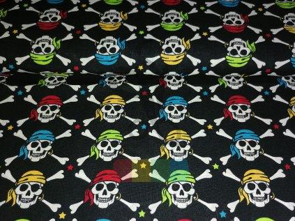 bavlna+polyester - barevný lebky