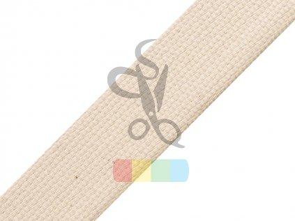 bavlněný popruh, šíře 3 cm, barva režná - kus 1,8 m
