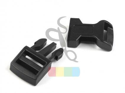 opasková spona(trojzubec) průvlek 15 mm - černá, prohnutá