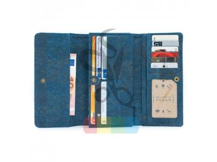 dámská peněženka korková - modrá
