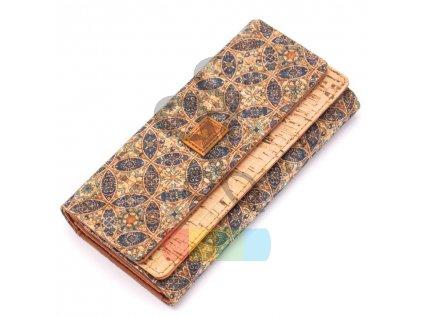 dámská peněženka korková  - modré mandaly