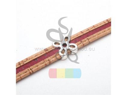 korkový pásek 10 mm hnědý s červeným pruhem