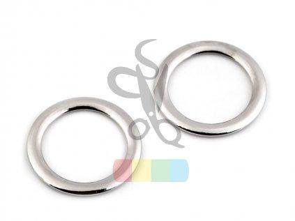 kroužek 28 mm plochý - stříbrný
