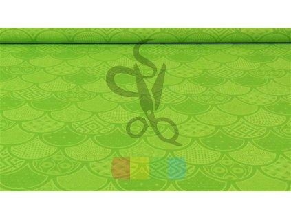 bavlněná látka - fantazie - zelená