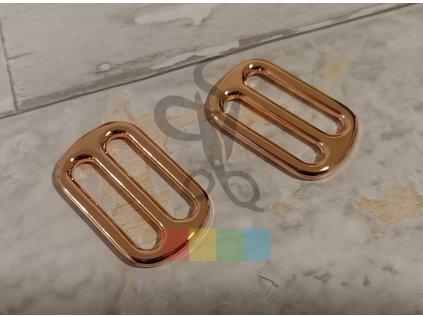 růžové zlato - zkracovač kovový pro popruhy 30 mm