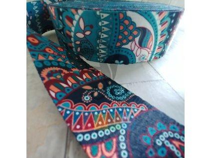 popruh polyesterový 5 cm, vzor INDIE