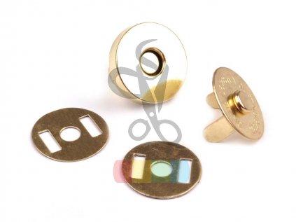 magnetické zapínání kulaté, průměr 15 mm, barva zlatá
