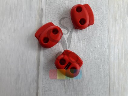 brzdička na šňůru - plochá elipsovitá - červená