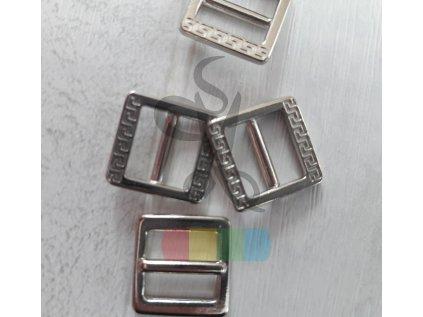 zkracovač kovový na popruhy 10 mm - ozdobný - stříbrný