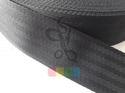 polypropylenový popruh imitace autopásů - 50 mm, černá