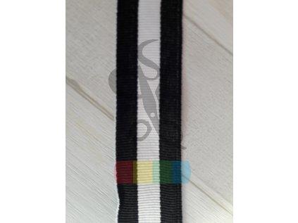 popruh polyesterový 3 cm, lampas černo-bílý