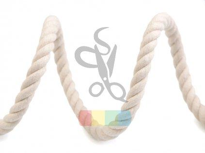 šňůra bavlněná kroucená, průměr 10 mm,  barva režná