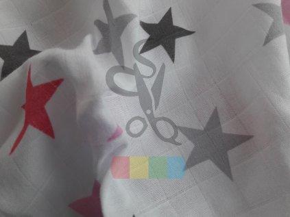 jednoduchá gázovina /mušelín - bílá s hvězdami - růžová VÝPRODEJ