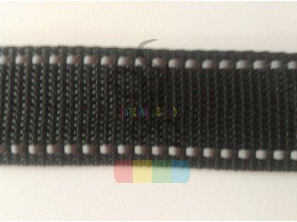 polypropylenový popruh 2 cm - černý s reflexními pruhy