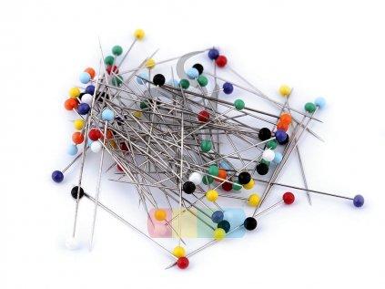 špendlíky se skleněnou hlavičkou - 50 ks