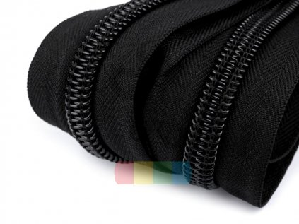zip spirálový v metráži - černý - 10 mm