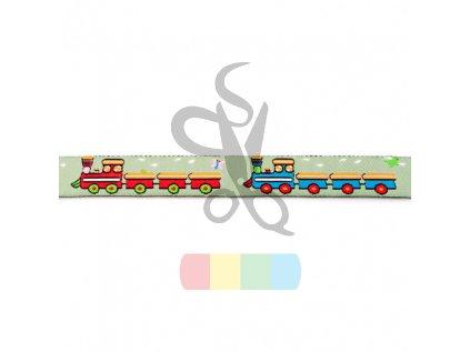 tkaná stuha 15 mm - vlaky
