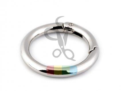 kroužek na klíče či kabelky 34 mm - stříbrný