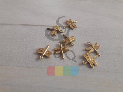 vážka k našití - zlatá