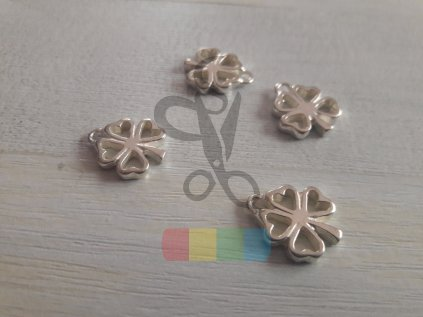 čtyřlístek k našití - stříbrný