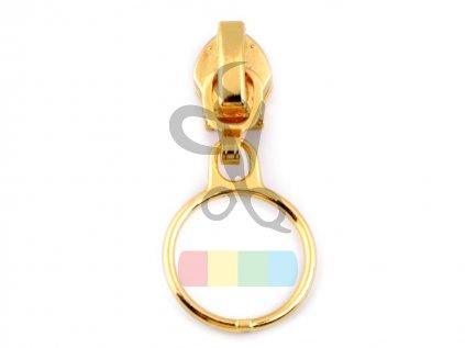 jezdec k metrážovému spirálovému zipu 5 mm - kroužek - zlatý