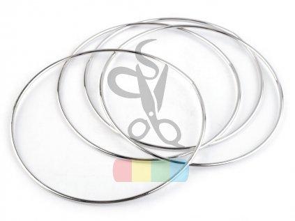 kovový kruh 15 cm  - stříbrný